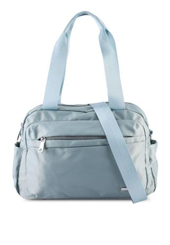 NUVEAU blue Lightweight Nylon Shoulder Bag 08E4BAC6122EAAGS_1