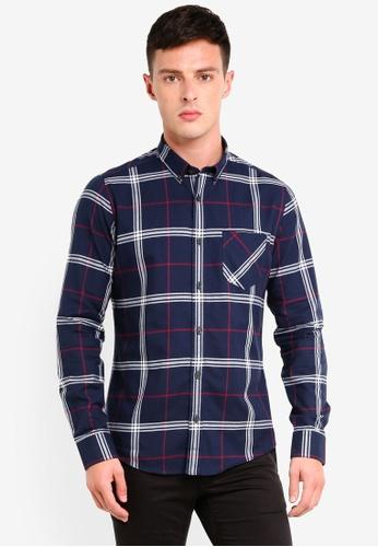 Burton Menswear London 海軍藍色 長袖格紋修身牛津襯衫 06F6AAA54D6262GS_1