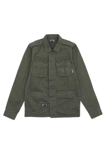 izzue green Patched safari shirt 9A7E1AA0D32D5FGS_1