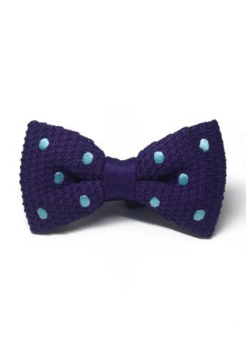 Splice Cufflinks purple Webbed Series Baby Blue Polka Dots Purple Knitted Bow Tie SP744AC00UAXSG_1
