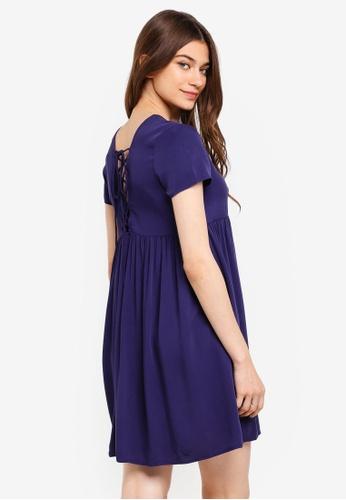 Something Borrowed navy Laced Up Babydoll Dress E49EDAA1D07CA8GS_1