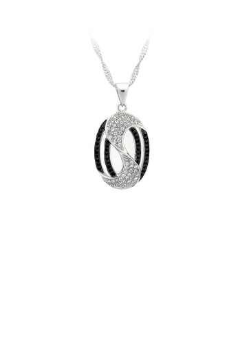 Glamorousky silver 925 Sterling Silver Oval Pendant with Black and White Cubic Zircon and Necklace 85C85ACB988320GS_1