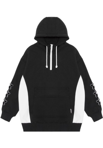 Mini cream black Contrast quarter zip hoodie D69BAAA82B28CCGS_1