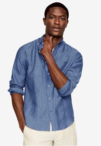 MANGO Man blue Slim Fit Linen Shirt EC3DCAA1C3232AGS_1