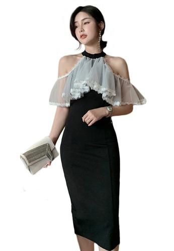 Sunnydaysweety black Mesh Ruffled Slim Halter One Piece Dress A21022254 1D45DAA5BB1236GS_1
