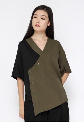 Tahalim black and green and multi Two Tone Kimono Shirt EB110AAC1509C3GS_1