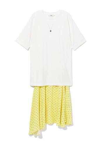 b+ab white Layered polka dot t-shirt dress 54650AA90A1641GS_1