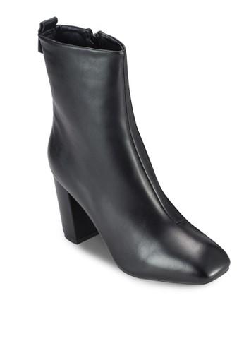 Resprit香港門市amona 粗跟仿皮踝靴, 女鞋, 鞋