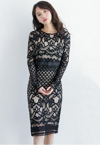 Shopsfashion black Full Lace Midi Dress in Black D1BE8AAF348C13GS_1