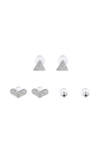 Silverworks silver Shahira Silver Microstud Earrings Set Round Heart and Triangle with Cubic Zirconia 9D420AC5CB05AAGS_1
