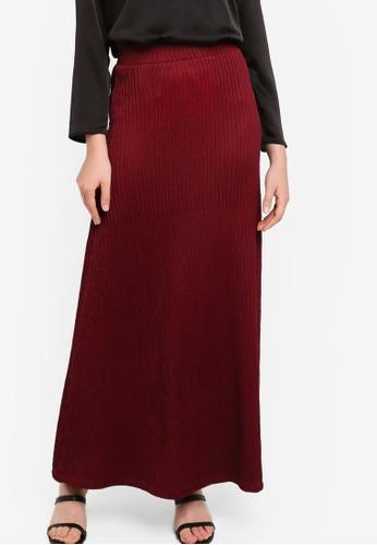 ZALIA BASICS 紅色 Basic A-Line Skirt 381B3AA4B4FE09GS_1