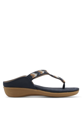 Spiffy blue and navy Embellished Sandals SP352SH0SRY1MY_1