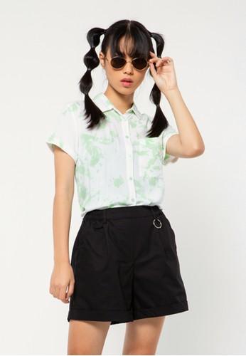 COLORBOX green Basic Crop Shirt D42CFAA34B04C7GS_1