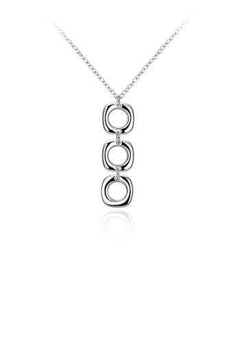 Glamorousky silver Simple and Elegant Geometric Round Pendant with Necklace F81EAAC0C486DAGS_1