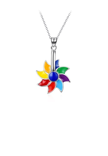 Glamorousky silver 925 Sterling Silver Fashion and Elegant Color Windmill Rotatable Pendant with Necklace 23C8BAC53E649CGS_1