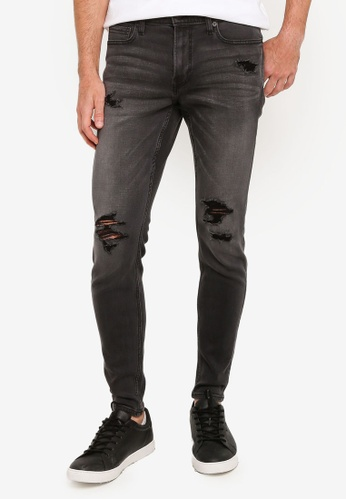 Hollister black Super Skinny Washed Core Destroy Jeans 639A4AAFAAB6D5GS_1