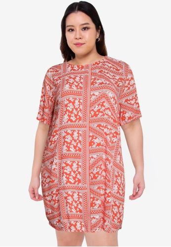 Only CARMAKOMA red Plus Size Super Life Tunic Dress 3F2F6AA4E513E2GS_1