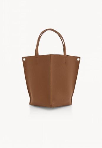 Pomelo brown Mini Open Tote Bag - Brown ADA7CAC49CFF41GS_1
