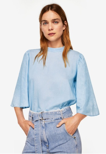 MANGO blue Denim Blouse 8BE46AA1B03E39GS_1