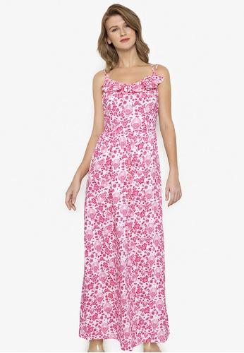 Purple Shore multi Printed Ruffles Long Dress 450D4AA4030534GS_1