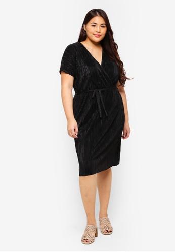 0c587631357 Buy Dorothy Perkins Plus Size Black Plisse Wrap Dress Online on ZALORA  Singapore