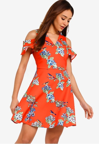 ZALORA red and multi Cold Shoulder Fit And Flare Dress DBDE7AA18BE346GS_1