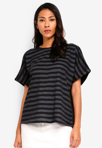 UniqTee black Contrast Striped Tee 9CA4DAAFBBD5A9GS_1