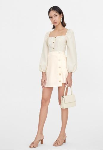Pomelo beige Side Buttoned High Waist Skirt - Cream C5158AA1E6199DGS_1