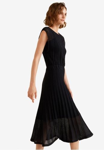 Mango black Contrast-Bodice Jersey Dress D1BCFAA8DBC2F0GS_1