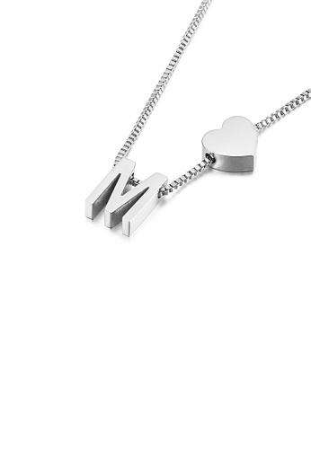 Glamorousky 銀色 簡約時尚心形英文字母M 316L鋼吊墜配項鏈 3E8AAAC1C14866GS_1