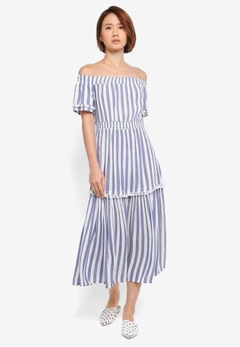WAREHOUSE blue Pom Pom Bardot Midi Dress 4BD48AA4E45B14GS_1