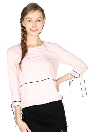 London Rag pink Dusty Pink Elbow Sleeve Casual Top 3F216AA169410CGS_1