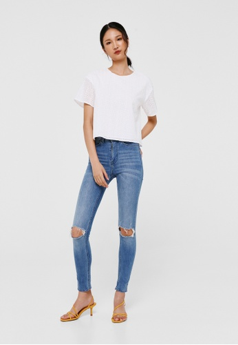 Love, Bonito white Mila Broderie Anglaise Top D8495AACDE35CBGS_1