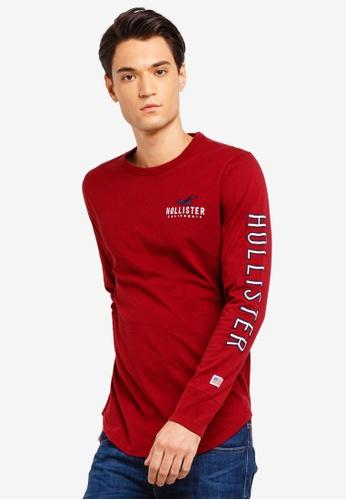 Hollister 紅色 LOGO刺繡長袖T恤 21BDBAA4BD551DGS_1