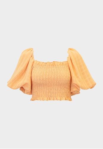 Pomelo orange Smock Puff Sleeve Crop Blouse - Orange 9FE8CAA0092FCFGS_1