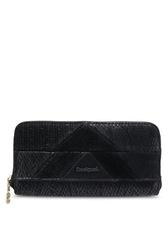 Desigual black Zip Around Snake Patch Wallet DE160AC0RK00MY_1