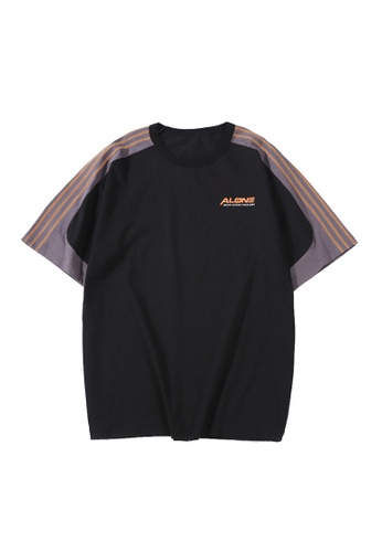Twenty Eight Shoes black VANSA Unisex Contrasting Color Stitching Short-sleeved T-shirt VCU-T1029 320CBAA85B163FGS_1