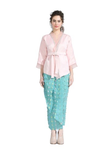 Callalily Teal Kimono Cardigan with Pario Skirt from Hernani in Green and Multi
