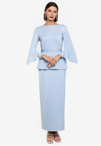 Zalia blue Off Shoulder Lace Sequin Panel Kurung E4053AA80435C2GS_1