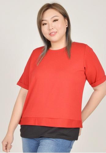 Cheetah red Arissa Plus Size Short Sleeve Stripe Top - ARS-9646 C9A3BAA057C12DGS_1