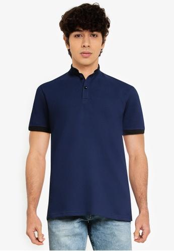 UniqTee 海軍藍色 Pattern Collar Polo Shirt F73BCAA8C3A8BBGS_1