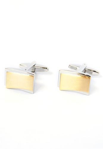 Splice Cufflinks silver and gold 2 Tone Brushed Cufflinks SP744AC73CQKSG_1
