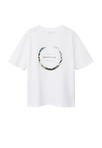 MANGO KIDS white Message Organic Cotton T-Shirt 95931KA6859E1BGS_1