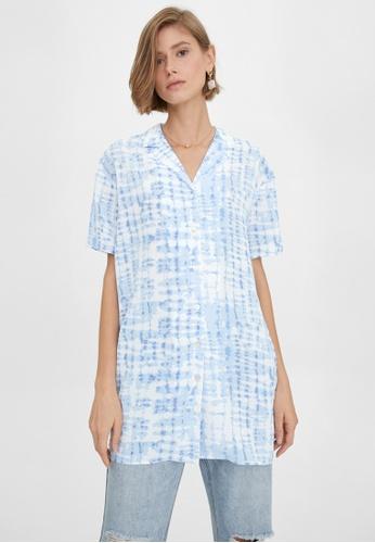 Pomelo blue Tie Dye Button Up Oversized Dress - Blue D22DAAA50D038CGS_1
