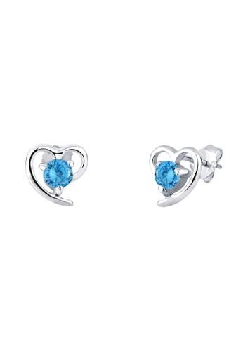 心形仿鑽 925 純銀耳環, 飾品配件esprit分店, 耳釘