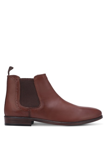 Burton Menswear London brown Chelsea Boots With Punch Detail BU964SH0S7F6MY_1