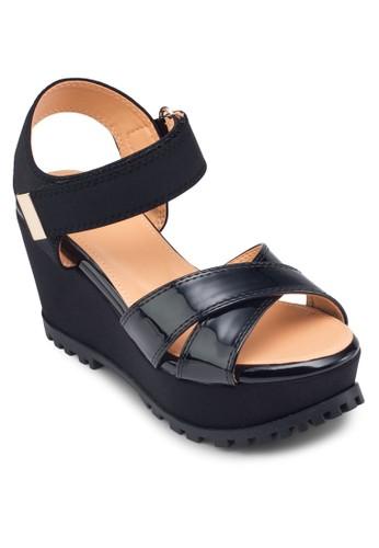 交叉esprit home 台灣帶繞踝楔形涼鞋, 女鞋, 鞋