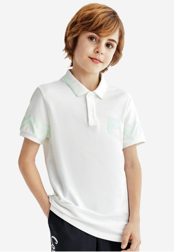 FILA white FILA KIDS F Logo Polo Shirt 10-15yrs F79D4KAD3E8FF7GS_1