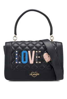 Love Moschino black Quilted Top-Handle Bag With Decorative Patches  5816CAC95FD024GS 1 ebb19e0a8d