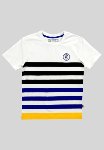 Moose Gear white Striped T-Shirt For Boys With Logo Embroidery ECB1BKAF871E3BGS_1